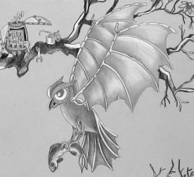 owl repair, mechanical owl with fish