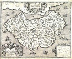 Abraham Ortelius' map of Utopia, from circa 1595