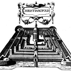 Johannes Valentinus Andreae's Christianopolis. Published in 1619, but the date of composition is unknown. Source: http://www.santa-coloma.net/voynich_drebbel/utopias/utopias.html